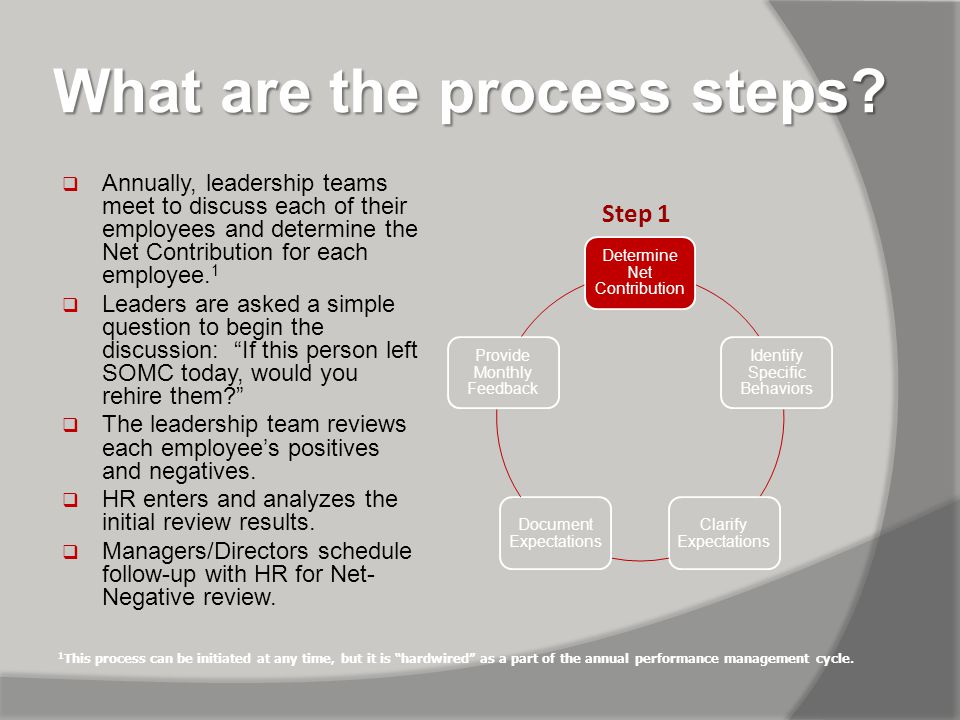 What are the process steps.