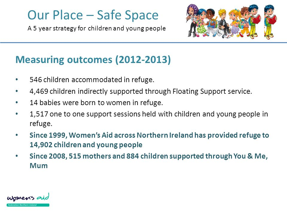 Our Place – Safe Space A 5 year strategy for children and young people Measuring outcomes (2012-2013) 546 children accommodated in refuge.