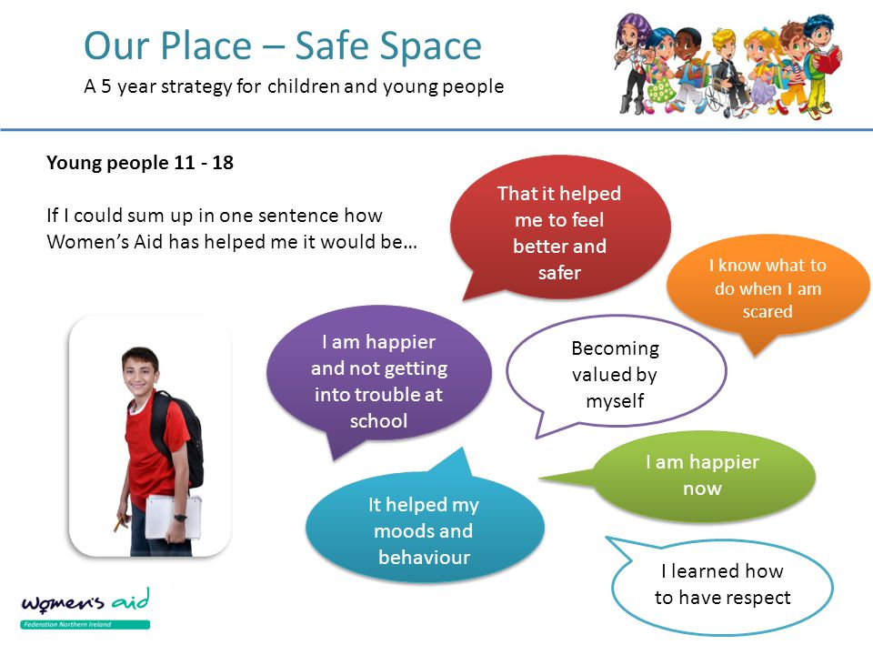 Our Place – Safe Space A 5 year strategy for children and young people That it helped me to feel better and safer I am happier now I am happier and not getting into trouble at school I know what to do when I am scared It helped my moods and behaviour I learned how to have respect Becoming valued by myself Young people 11 - 18 If I could sum up in one sentence how Women's Aid has helped me it would be…