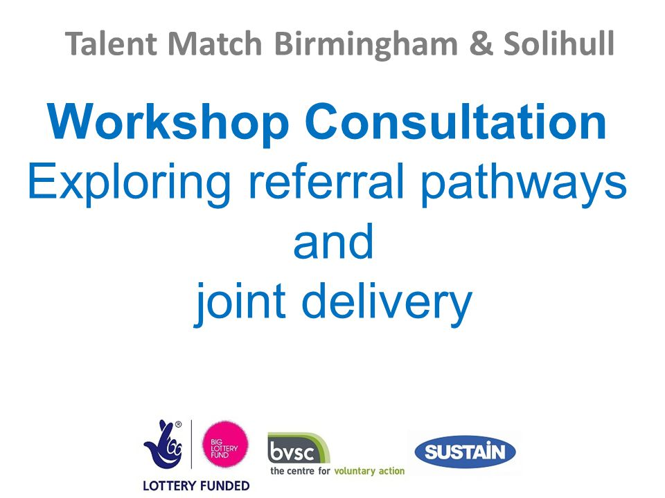 Talent Match Birmingham & Solihull Workshop Consultation Exploring referral pathways and joint delivery