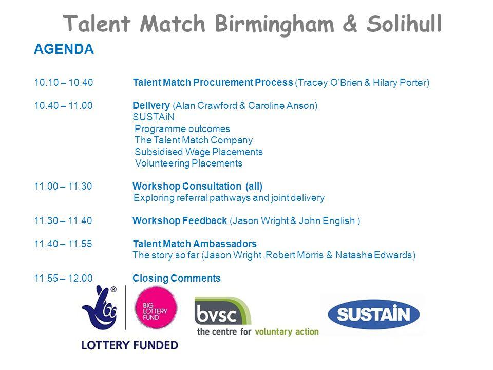 Talent Match Birmingham & Solihull AGENDA 10.10 – 10.40Talent Match Procurement Process (Tracey O'Brien & Hilary Porter) 10.40 – 11.00Delivery (Alan C