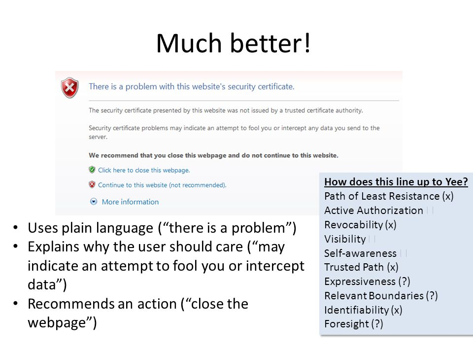 "Much better! Uses plain language (""there is a problem"") Explains why the user should care (""may indicate an attempt to fool you or intercept data"") Re"