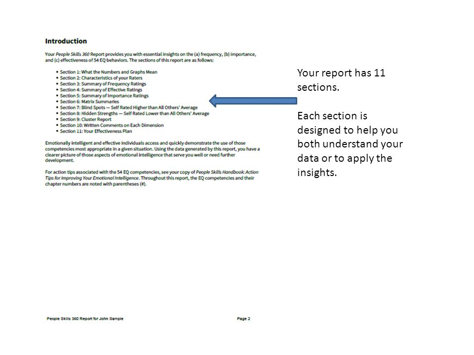 Your report has 11 sections.