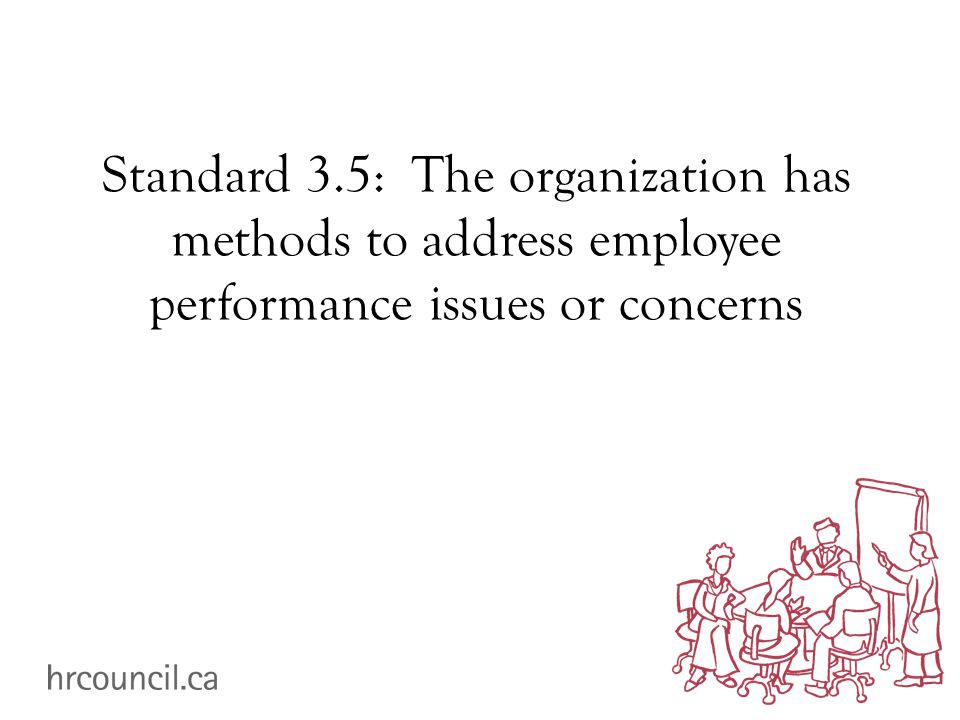 Standard 3.5: The organization has methods to address employee performance issues or concerns