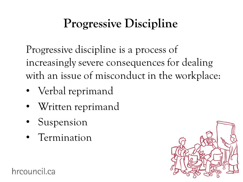 Progressive Discipline Progressive discipline is a process of increasingly severe consequences for dealing with an issue of misconduct in the workplace: Verbal reprimand Written reprimand Suspension Termination
