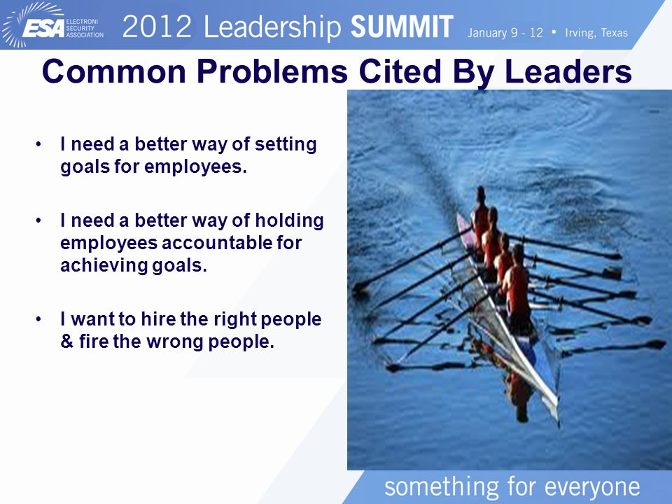 Common Problems Cited By Leaders I need a better way of setting goals for employees.