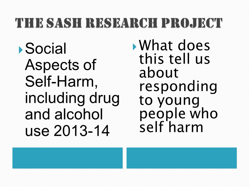  Social Aspects of Self-Harm, including drug and alcohol use 2013-14  What does this tell us about responding to young people who self harm
