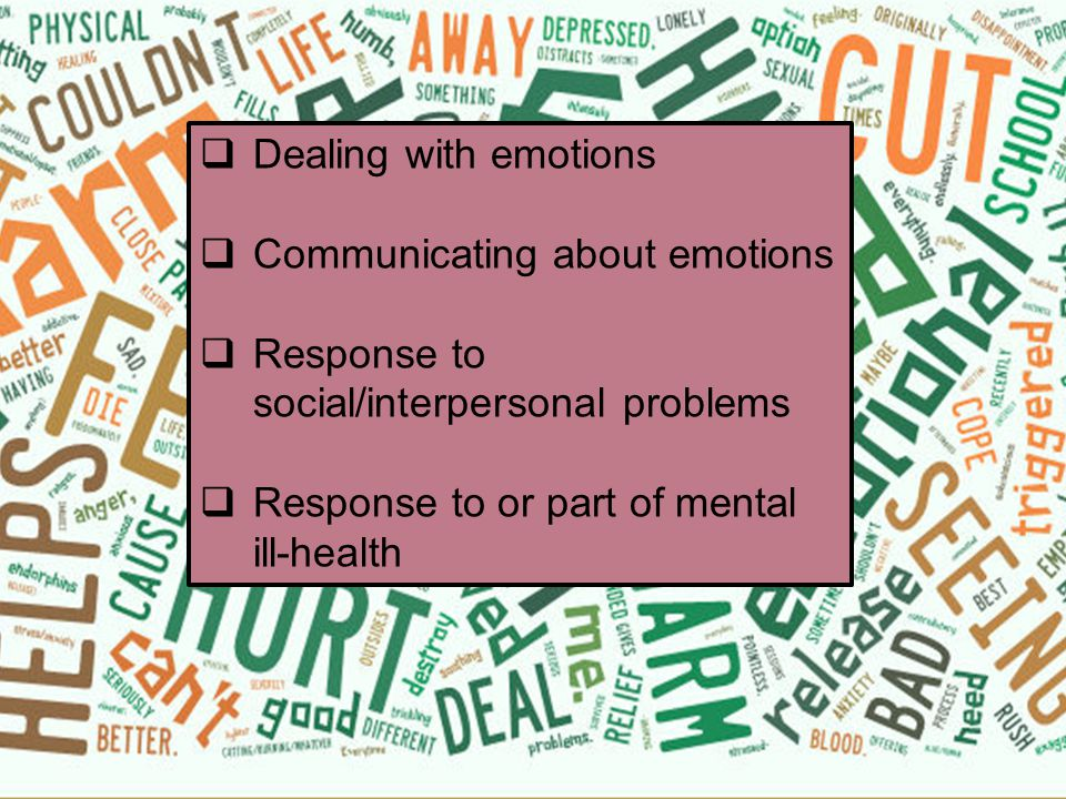  Self-harm has diverse meanings for young people – some of these are difficult to hear.