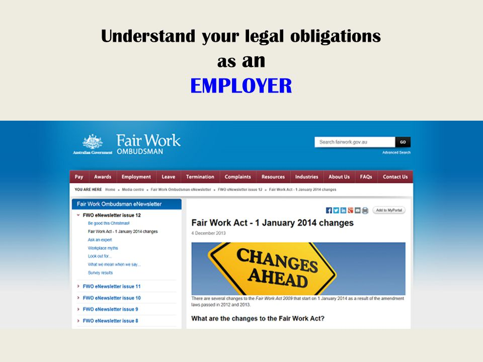 Understand your legal obligations as an EMPLOYER