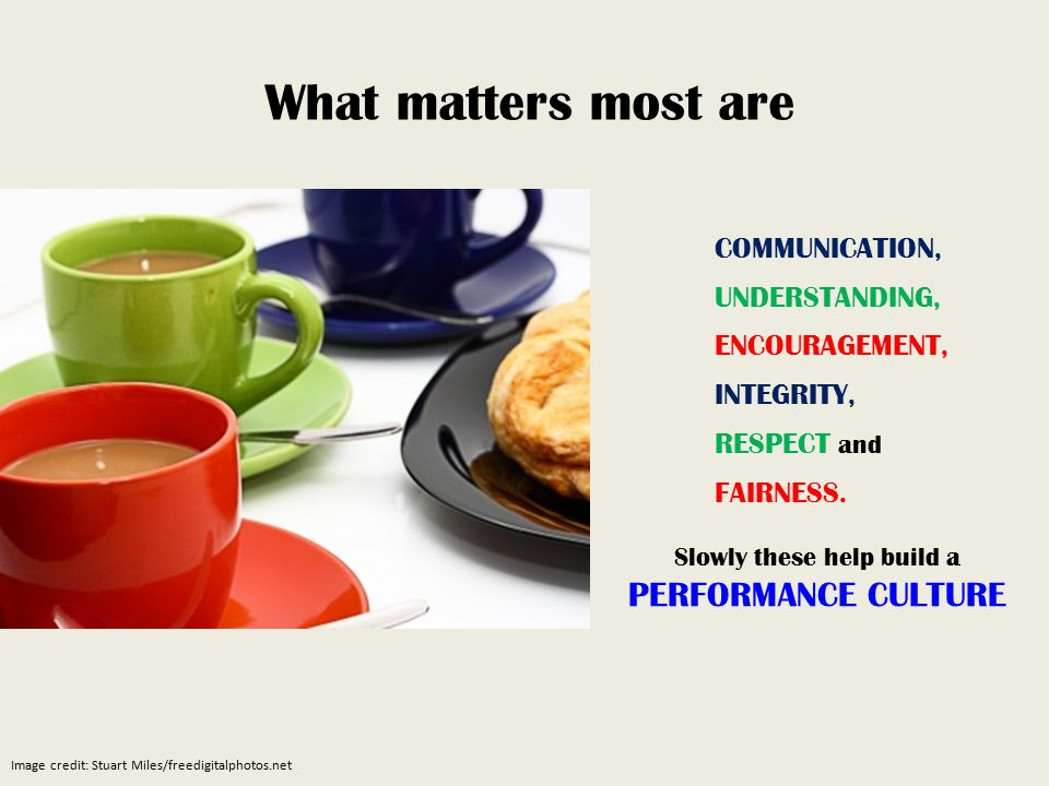 COMMUNICATION, UNDERSTANDING, ENCOURAGEMENT, INTEGRITY, RESPECT and FAIRNESS.