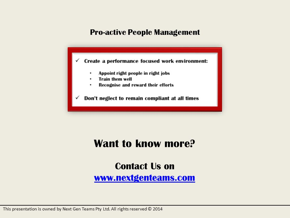 Pro-active People Management Want to know more.