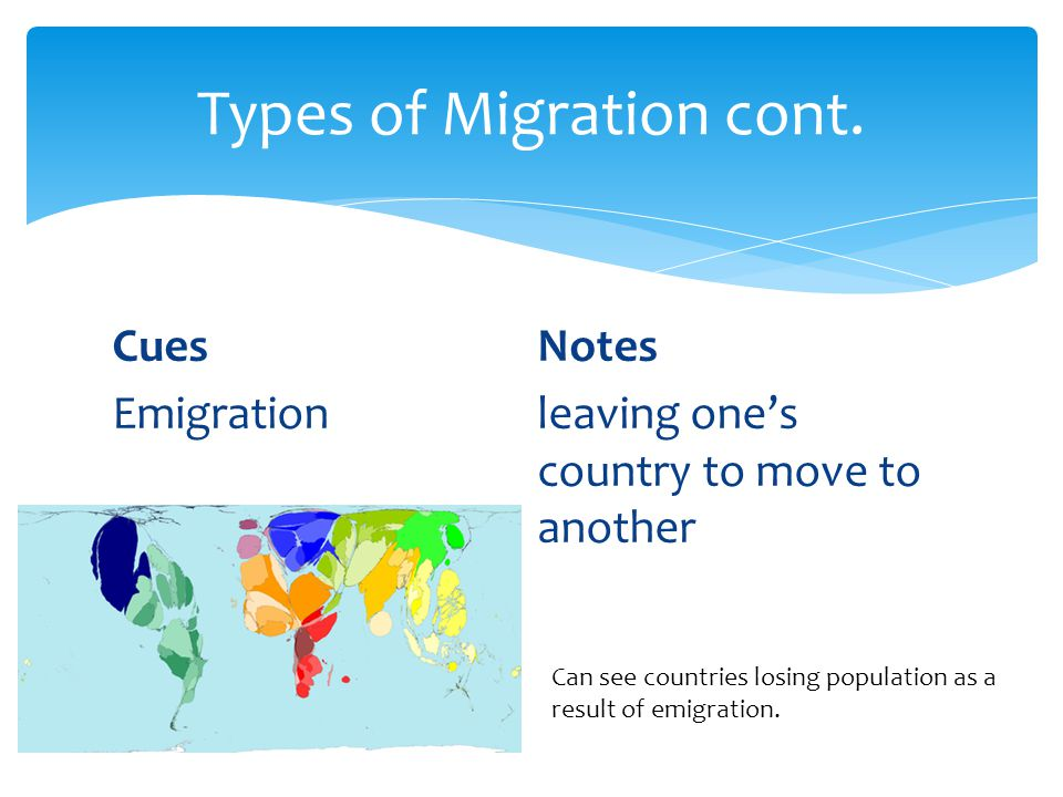 CuesNotes Emigration leaving one's country to move to another Types of Migration cont.