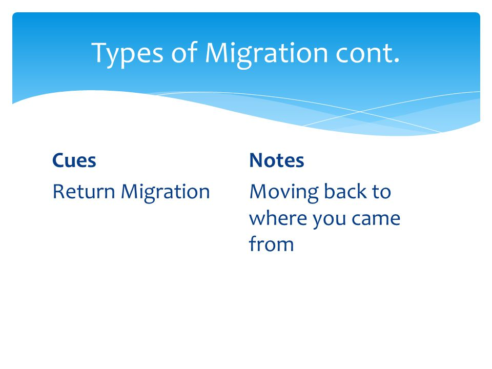 CuesNotes Return MigrationMoving back to where you came from Types of Migration cont.