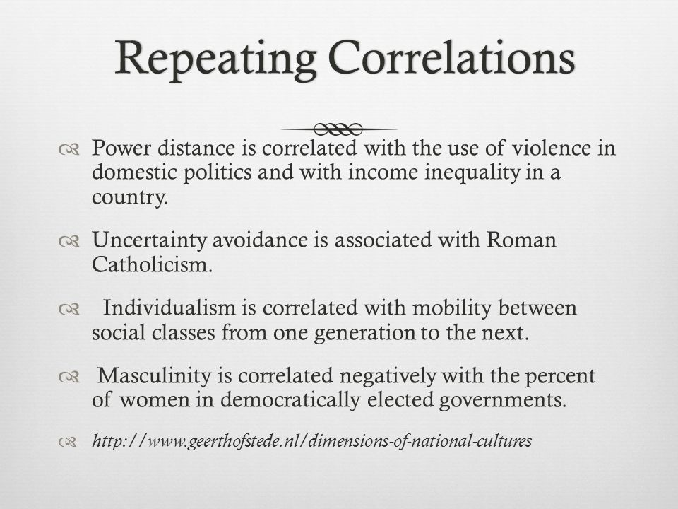 Repeating Correlations Repeating Correlations  Power distance is correlated with the use of violence in domestic politics and with income inequality in a country.