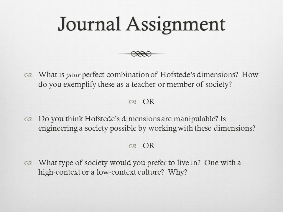 Journal AssignmentJournal Assignment  What is your perfect combination of Hofstede's dimensions.