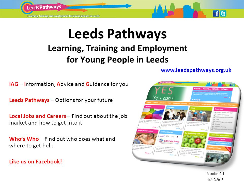 Leeds Pathways Learning, Training and Employment for Young People in Leeds Version 2.1 14/10/2013 www.leedspathways.org.uk IAG – Information, Advice and Guidance for you Leeds Pathways – Options for your future Local Jobs and Careers – Find out about the job market and how to get into it Who's Who – Find out who does what and where to get help Like us on Facebook!