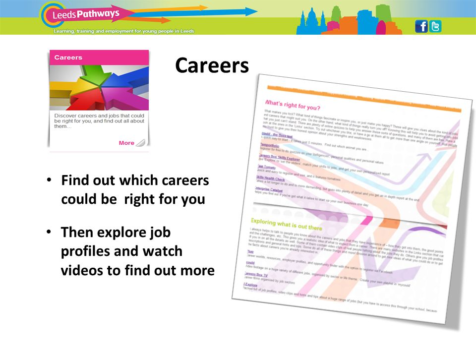 Careers Find out which careers could be right for you Then explore job profiles and watch videos to find out more