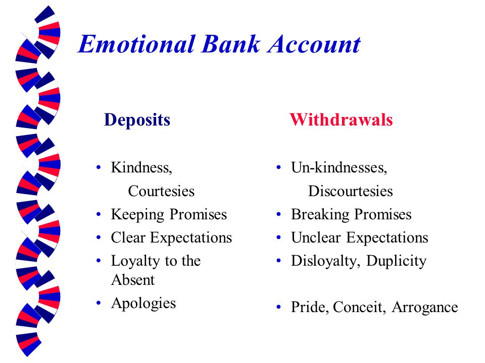 Emotional Bank Account Deposits Kindness, Courtesies Keeping Promises Clear Expectations Loyalty to the Absent Apologies Withdrawals Un-kindnesses, Di