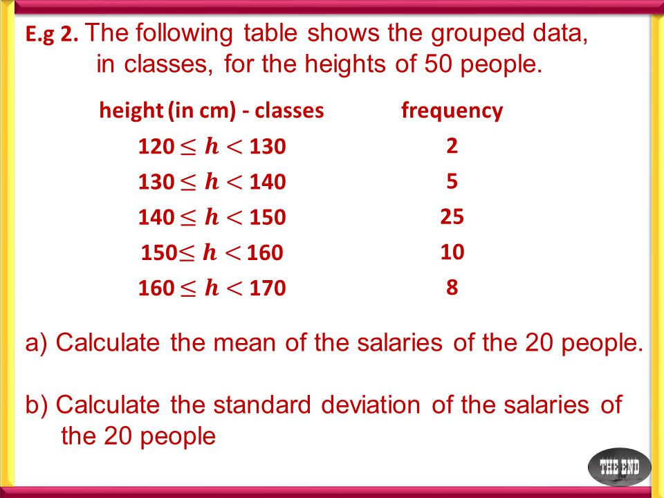 E.g 2. The following table shows the grouped data, in classes, for the heights of 50 people.