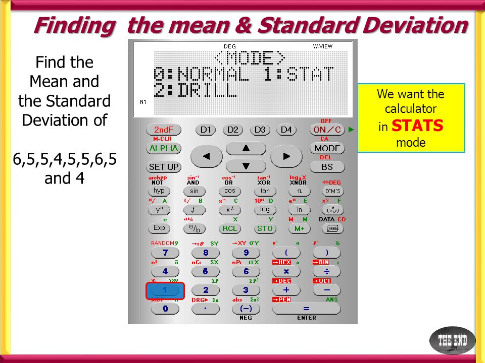 Finding the mean & Standard Deviation Find the Mean and the Standard Deviation of 6,5,5,4,5,5,6,5 and 4 We want to find Single Variable Statistics choose SD