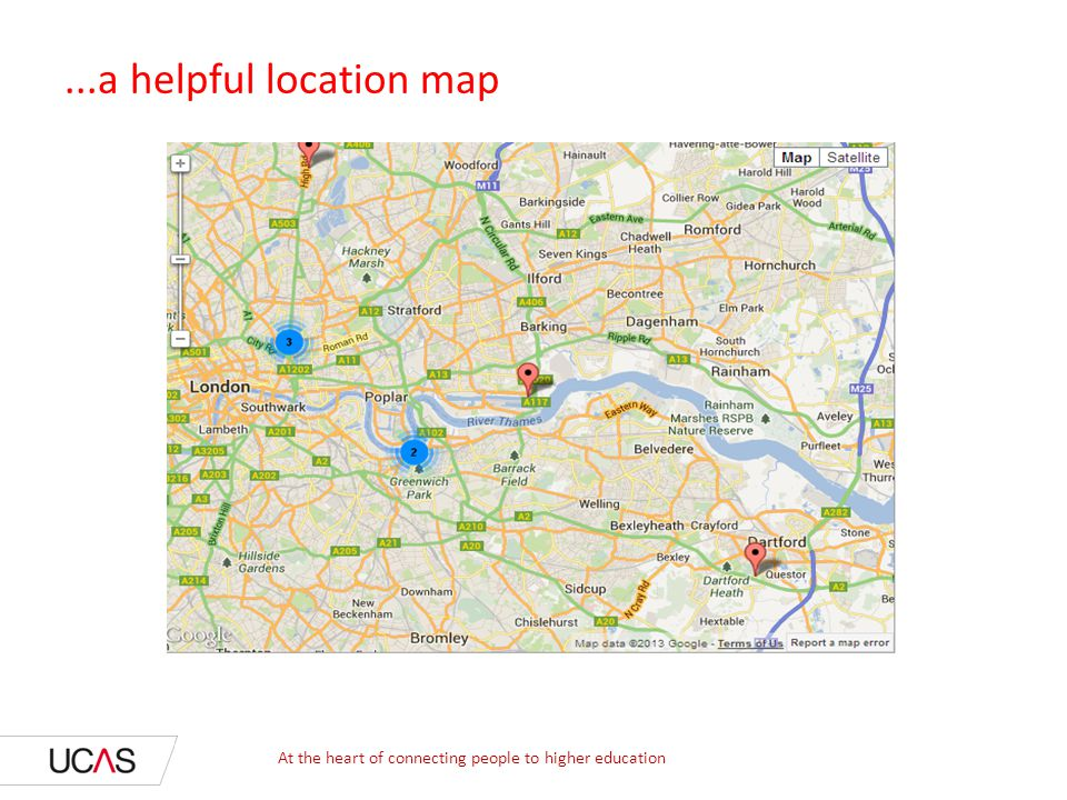 ...a helpful location map At the heart of connecting people to higher education