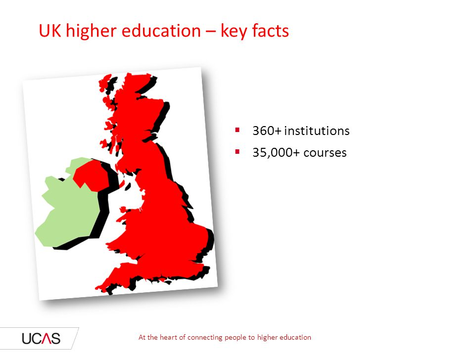  327 institutions  50,000+ courses UK higher education – key facts  360+  35,000+ At the heart of connecting people to higher education