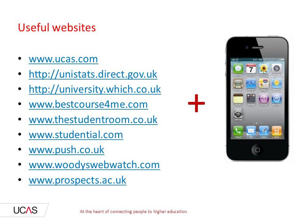 Useful websites www.ucas.com http://unistats.direct.gov.uk http://university.which.co.uk www.bestcourse4me.com www.thestudentroom.co.uk www.studential