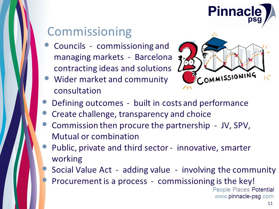 www.pinnacle-psg.com People Places Potential 11 Commissioning Councils - commissioning and managing markets - Barcelona contracting ideas and solutions Wider market and community consultation www.pinnacle-psg.com People Places Potential Defining outcomes - built in costs and performance Create challenge, transparency and choice Commission then procure the partnership - JV, SPV, Mutual or combination Public, private and third sector - innovative, smarter working Social Value Act - adding value - involving the community Procurement is a process - commissioning is the key.