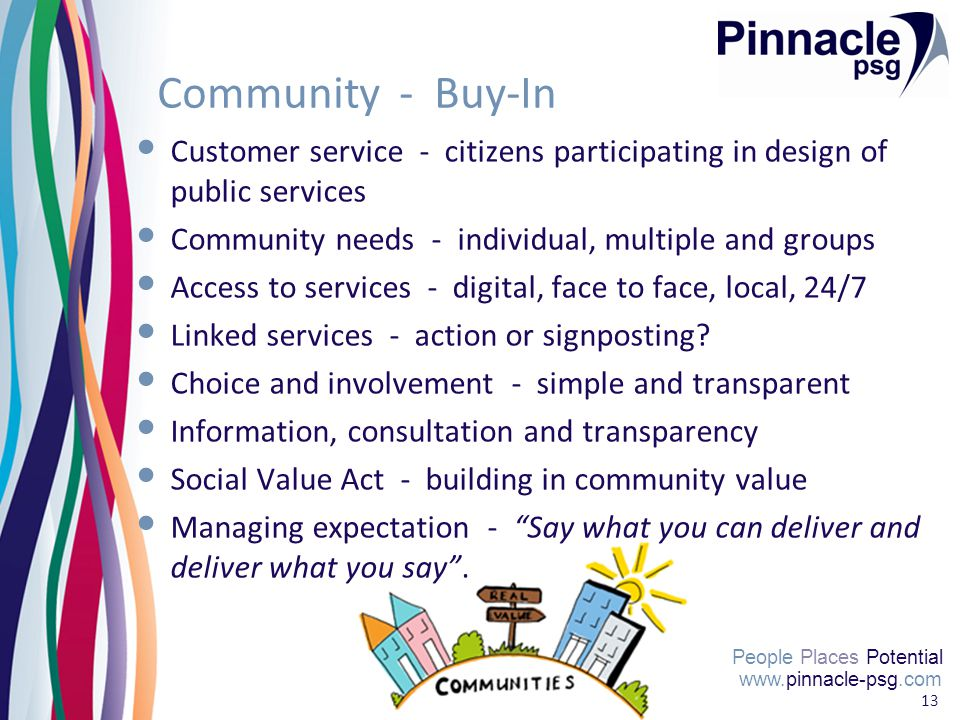 People Places Potential 13 Community - Buy-In Customer service - citizens participating in design of public services Community needs - individual, multiple and groups Access to services - digital, face to face, local, 24/7 Linked services - action or signposting.