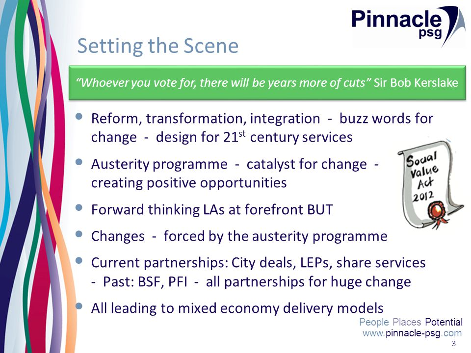 www.pinnacle-psg.com People Places Potential 3 Setting the Scene Reform, transformation, integration - buzz words for change - design for 21 st century services Austerity programme - catalyst for change - creating positive opportunities Forward thinking LAs at forefront BUT Changes - forced by the austerity programme Current partnerships: City deals, LEPs, share services - Past: BSF, PFI - all partnerships for huge change All leading to mixed economy delivery models www.pinnacle-psg.com People Places Potential Whoever you vote for, there will be years more of cuts Sir Bob Kerslake