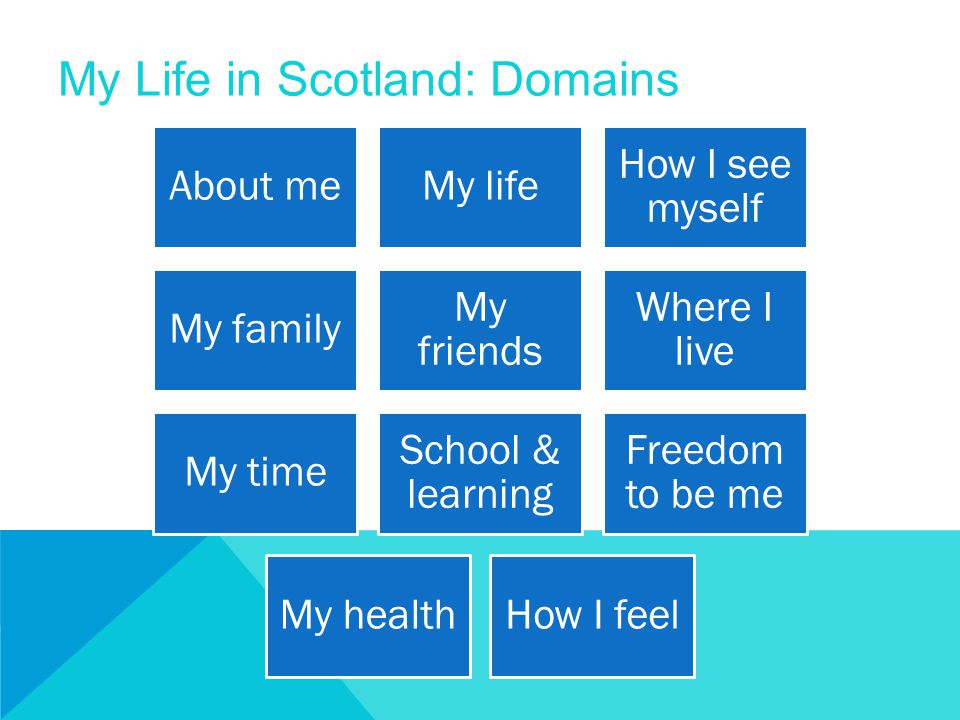 My Life in Scotland: Domains About meMy life How I see myself My family My friends Where I live My time School & learning Freedom to be me My healthHo