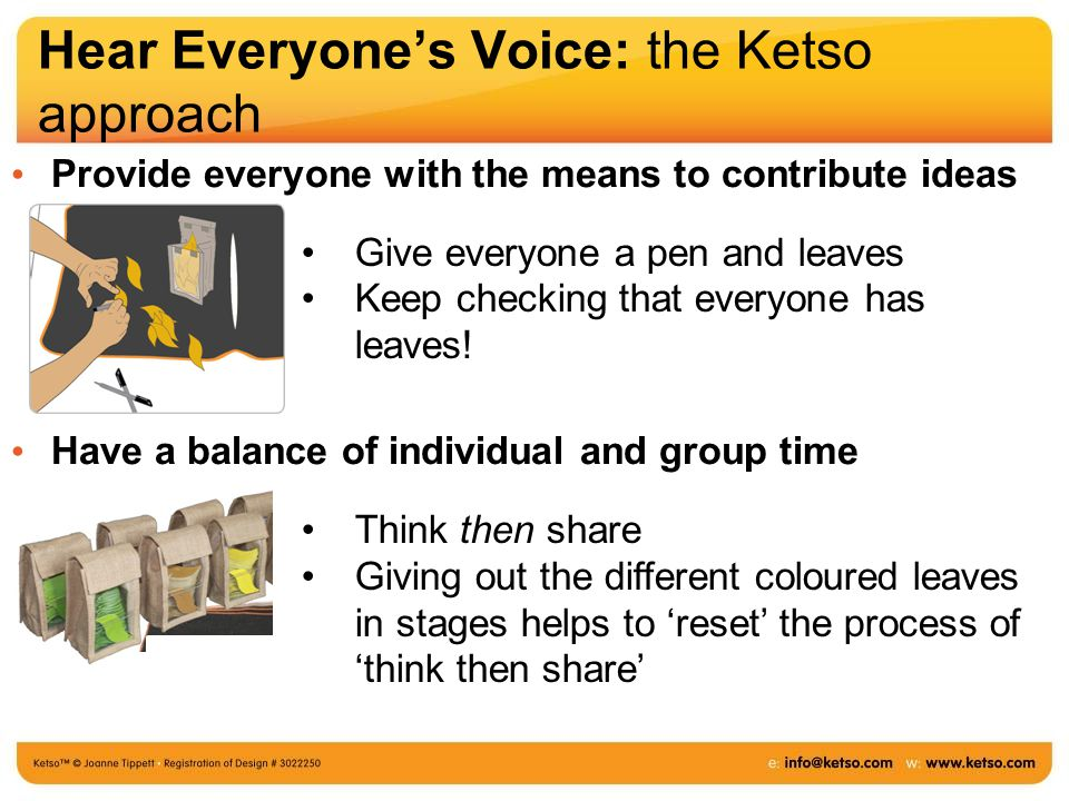 Hear Everyone's Voice: the Ketso approach Provide everyone with the means to contribute ideas Have a balance of individual and group time Give everyone a pen and leaves Keep checking that everyone has leaves.