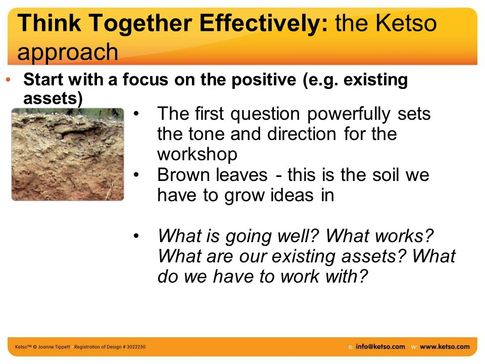 Think Together Effectively: the Ketso approach Start with a focus on the positive (e.g.