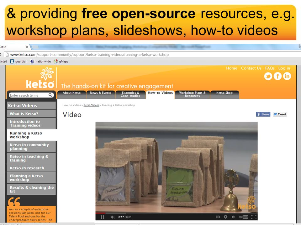 & providing free open-source resources, e.g. workshop plans, slideshows, how-to videos