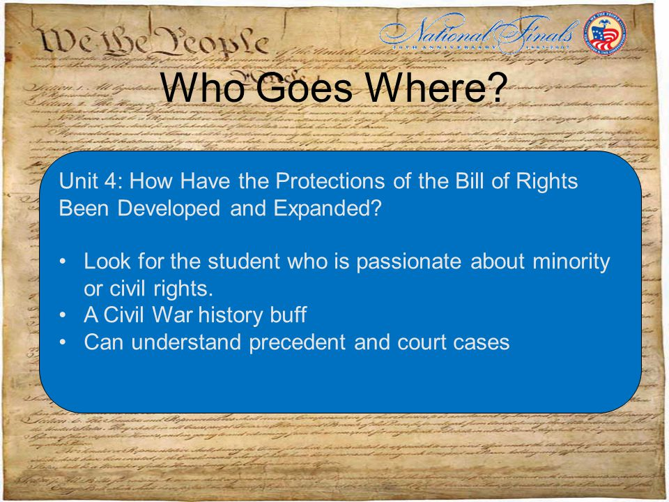 Who Goes Where. Unit 4: How Have the Protections of the Bill of Rights Been Developed and Expanded.