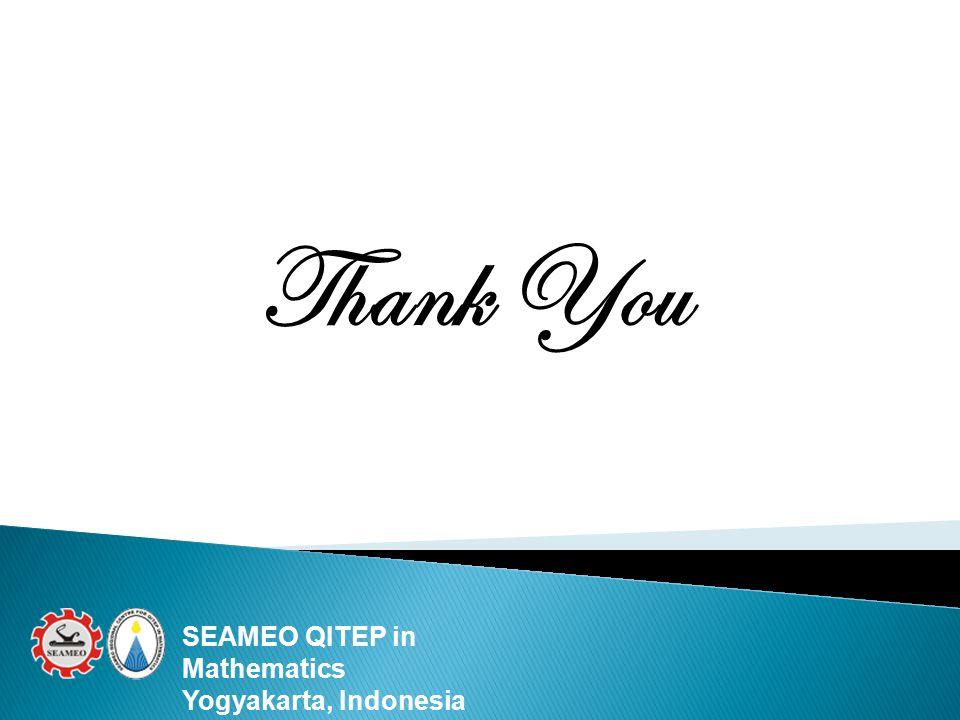 Thank You SEAMEO QITEP in Mathematics Yogyakarta, Indonesia