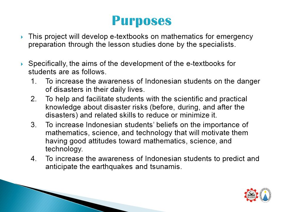  This project will develop e-textbooks on mathematics for emergency preparation through the lesson studies done by the specialists.