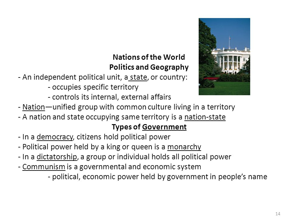 Nations of the World Politics and Geography - An independent political unit, a state, or country: - occupies specific territory - controls its interna