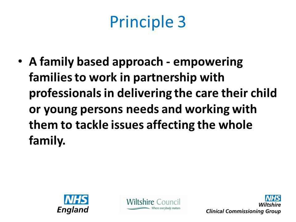Principle 3 A family based approach - empowering families to work in partnership with professionals in delivering the care their child or young persons needs and working with them to tackle issues affecting the whole family.