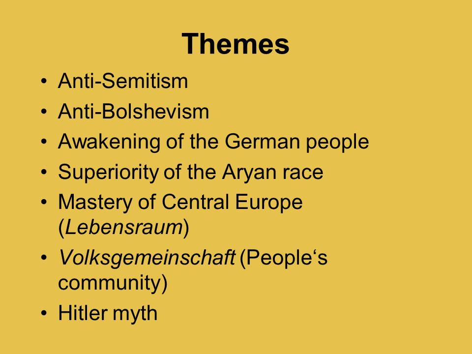 Themes Anti-Semitism Anti-Bolshevism Awakening of the German people Superiority of the Aryan race Mastery of Central Europe (Lebensraum) Volksgemeinschaft (People's community) Hitler myth