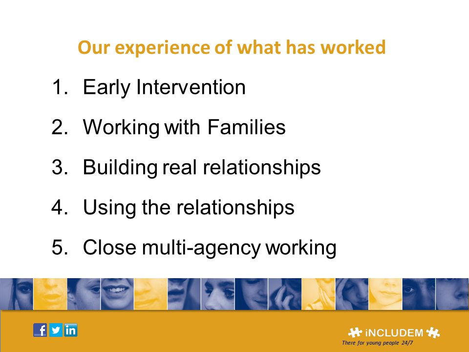 Our experience of what has worked 1.Early Intervention 2.Working with Families 3.Building real relationships 4.Using the relationships 5.Close multi-agency working There for young people 24/7