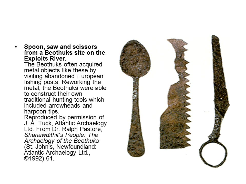 Spoon, saw and scissors from a Beothuks site on the Exploits River.