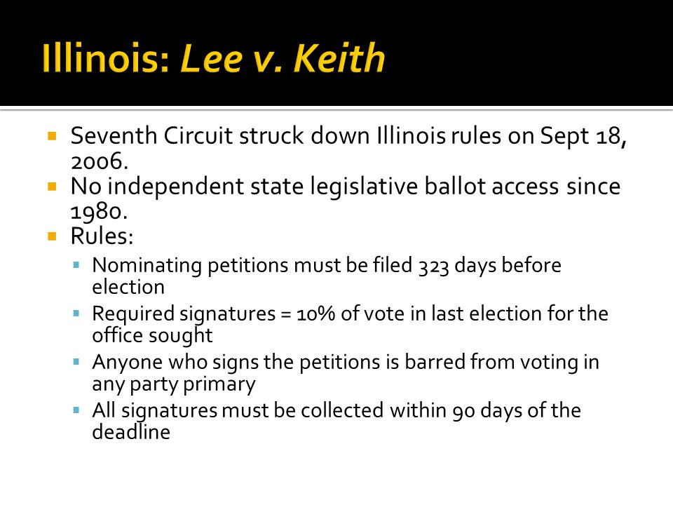  Seventh Circuit struck down Illinois rules on Sept 18, 2006.  No independent state legislative ballot access since 1980.  Rules:  Nominating peti