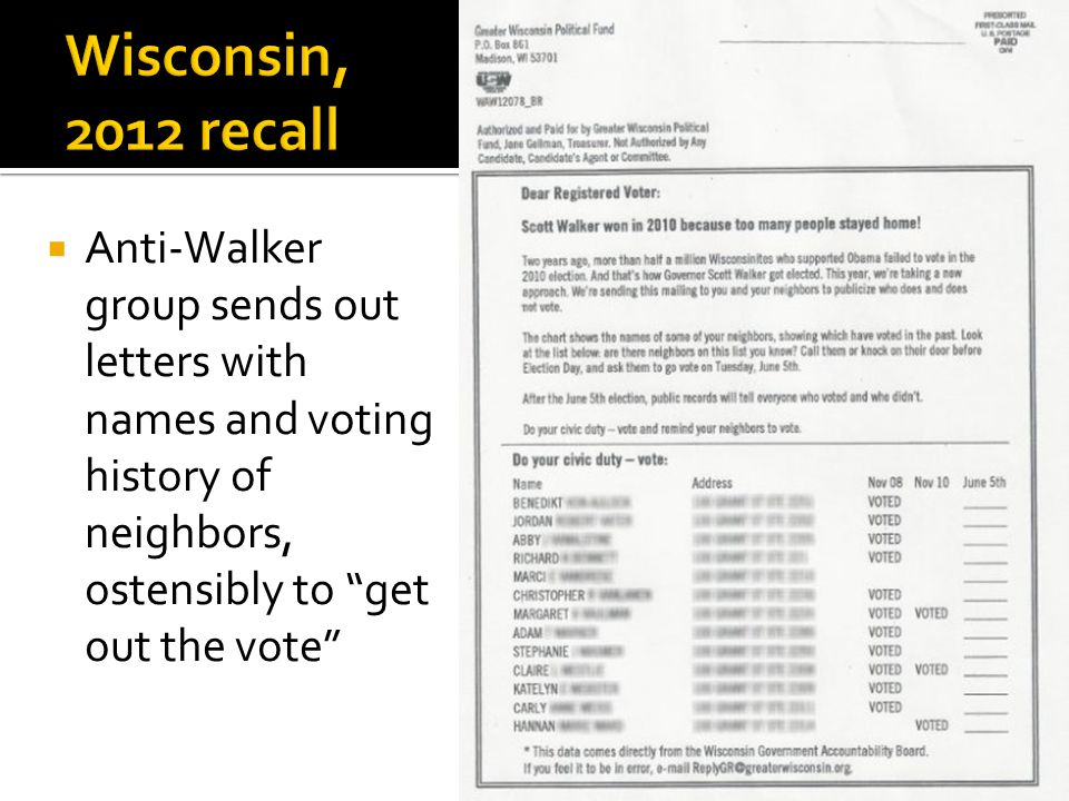 " Anti-Walker group sends out letters with names and voting history of neighbors, ostensibly to ""get out the vote"""