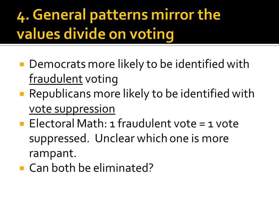  Democrats more likely to be identified with fraudulent voting  Republicans more likely to be identified with vote suppression  Electoral Math: 1 fraudulent vote = 1 vote suppressed.