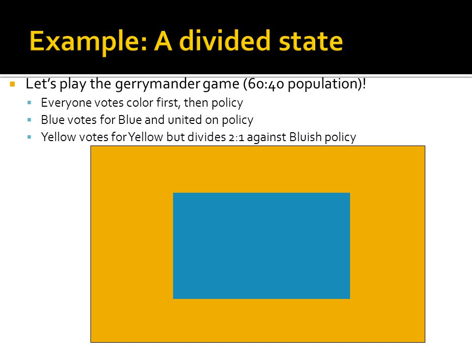  Let's play the gerrymander game (60:40 population)!  Everyone votes color first, then policy  Blue votes for Blue and united on policy  Yellow vo