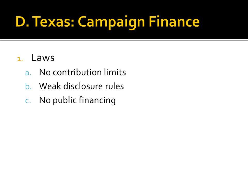 1. Laws a. No contribution limits b. Weak disclosure rules c. No public financing