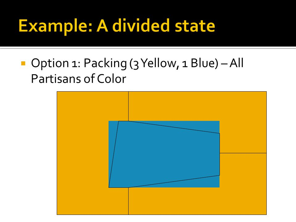  Option 1: Packing (3 Yellow, 1 Blue) – All Partisans of Color