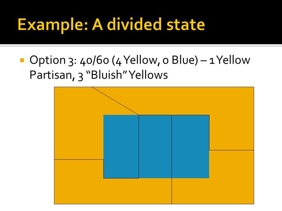  Option 3: 40/60 (4 Yellow, 0 Blue) – 1 Yellow Partisan, 3 Bluish Yellows