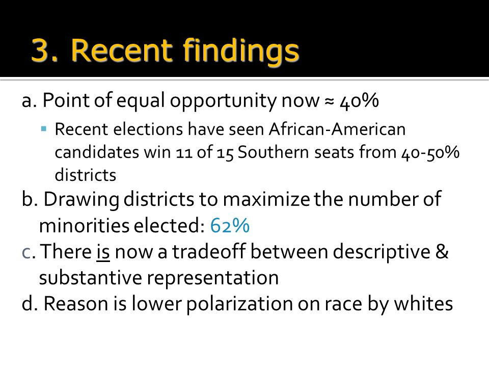 a. Point of equal opportunity now ≈ 40%  Recent elections have seen African-American candidates win 11 of 15 Southern seats from 40-50% districts b.